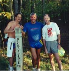 Roger with Chris and Joe at the end of their Birthday run in 1998
