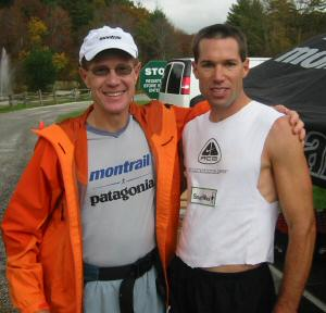 Dave Mackey with David Horton at the finish line