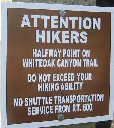 Sign in White Oak Canyon