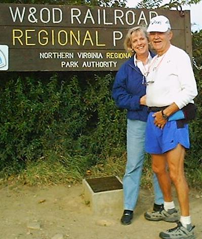 Photo of Paul and wife Cindy at finish of 2000 Andiamo
