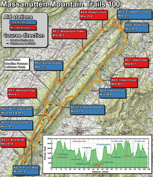 Massanutten Mountain Trails 100 Mile Run Course Map